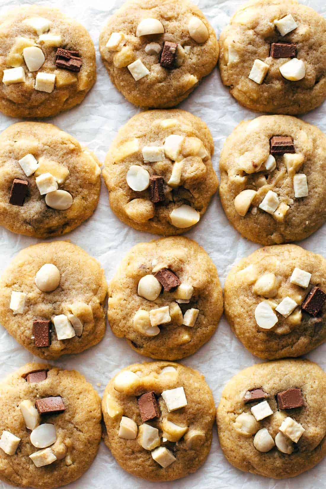 Baked Chocolate Macadamia Cookies on white paper