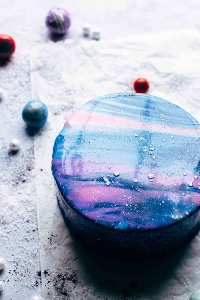Mirror Glaze Galaxy Cake from the side