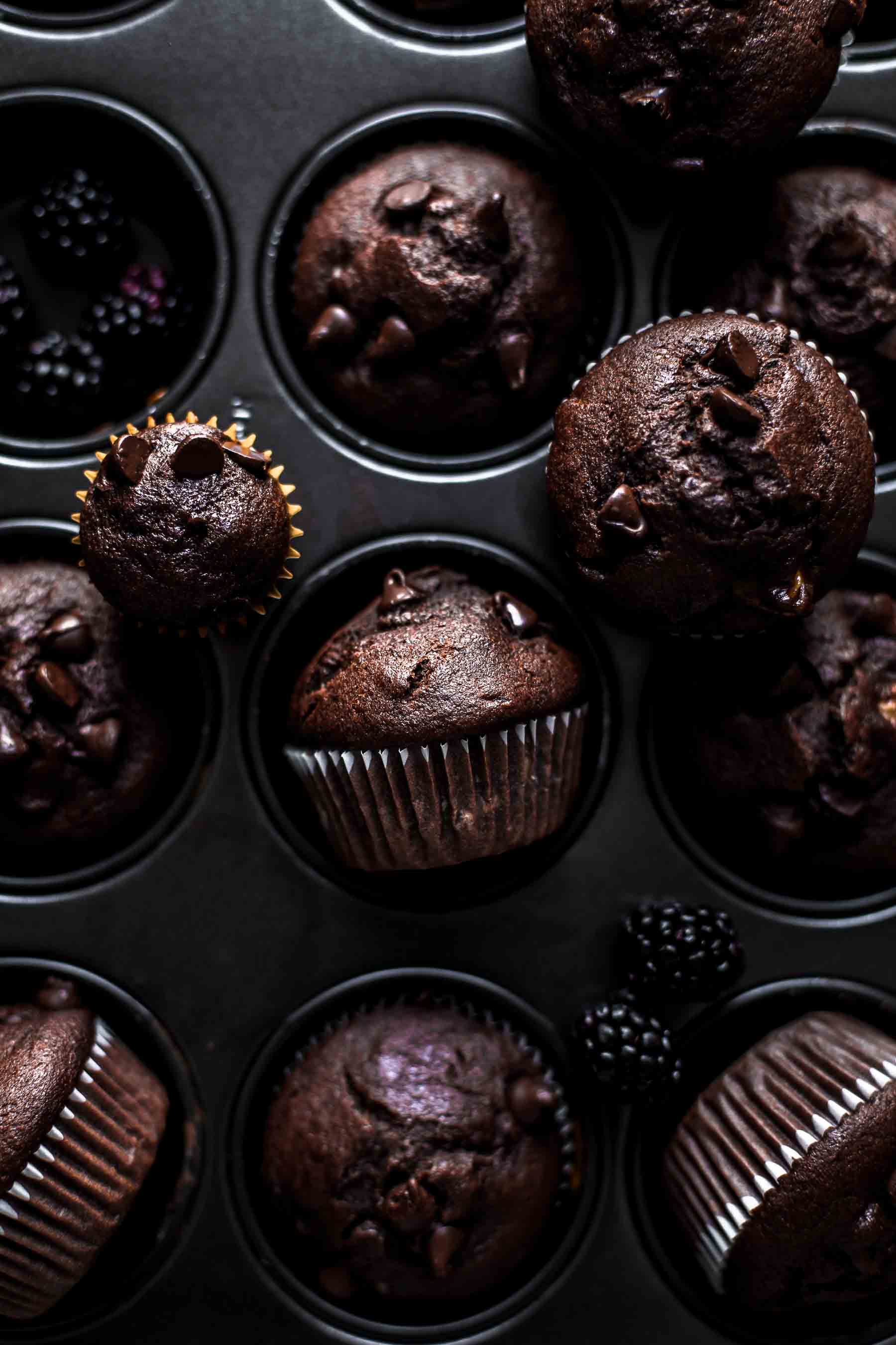 Baked Chocolate Banana Muffins in muffin pan