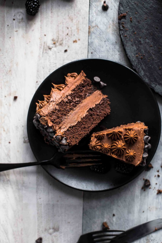 Cut slices of chocolate cake on a plate