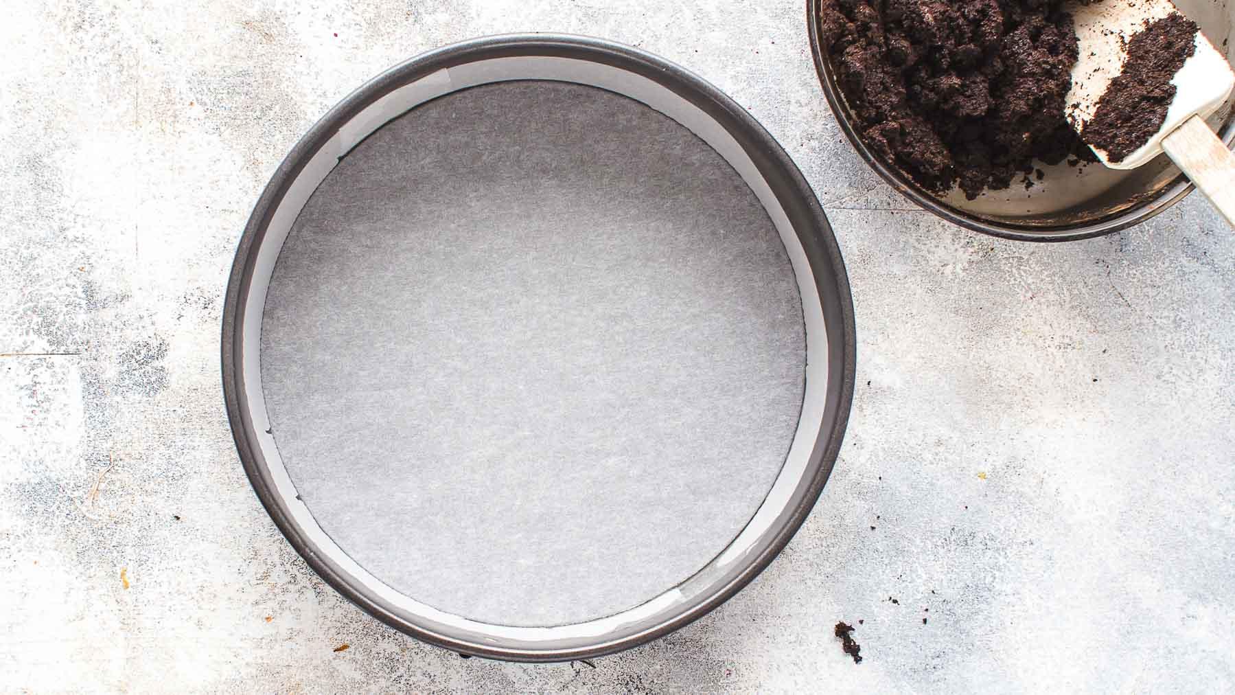 Parchment paper lined springform pan