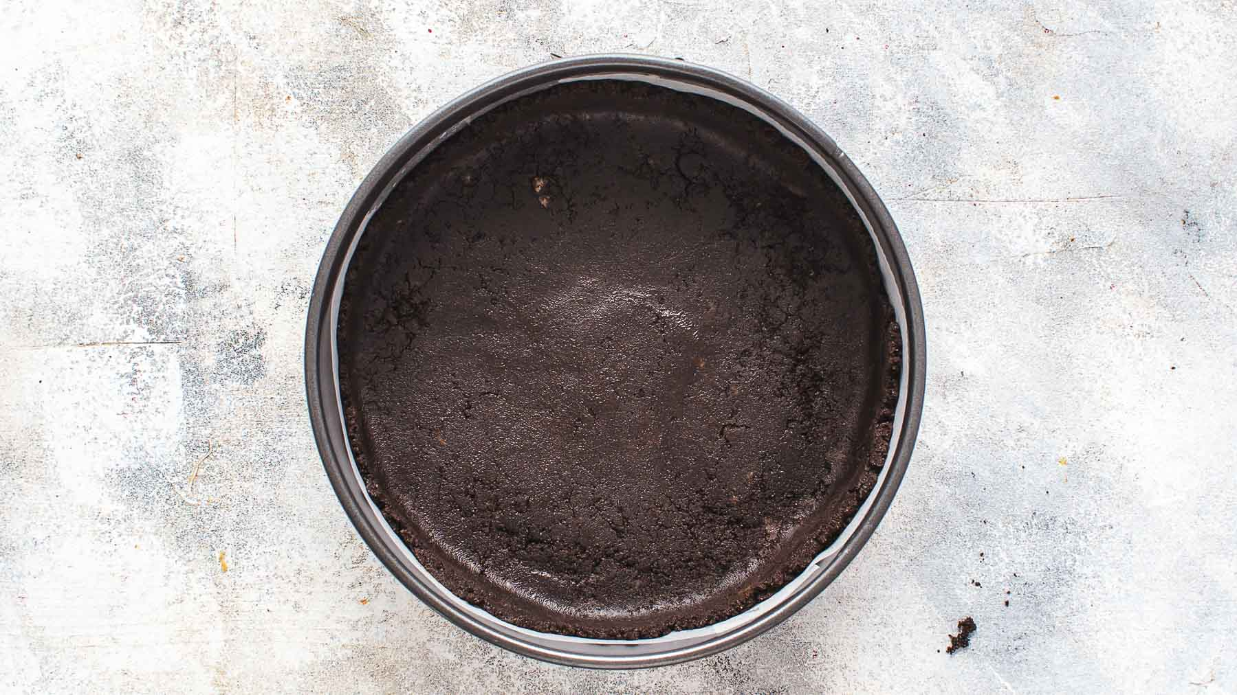 unbaked oreo crust in springform pan
