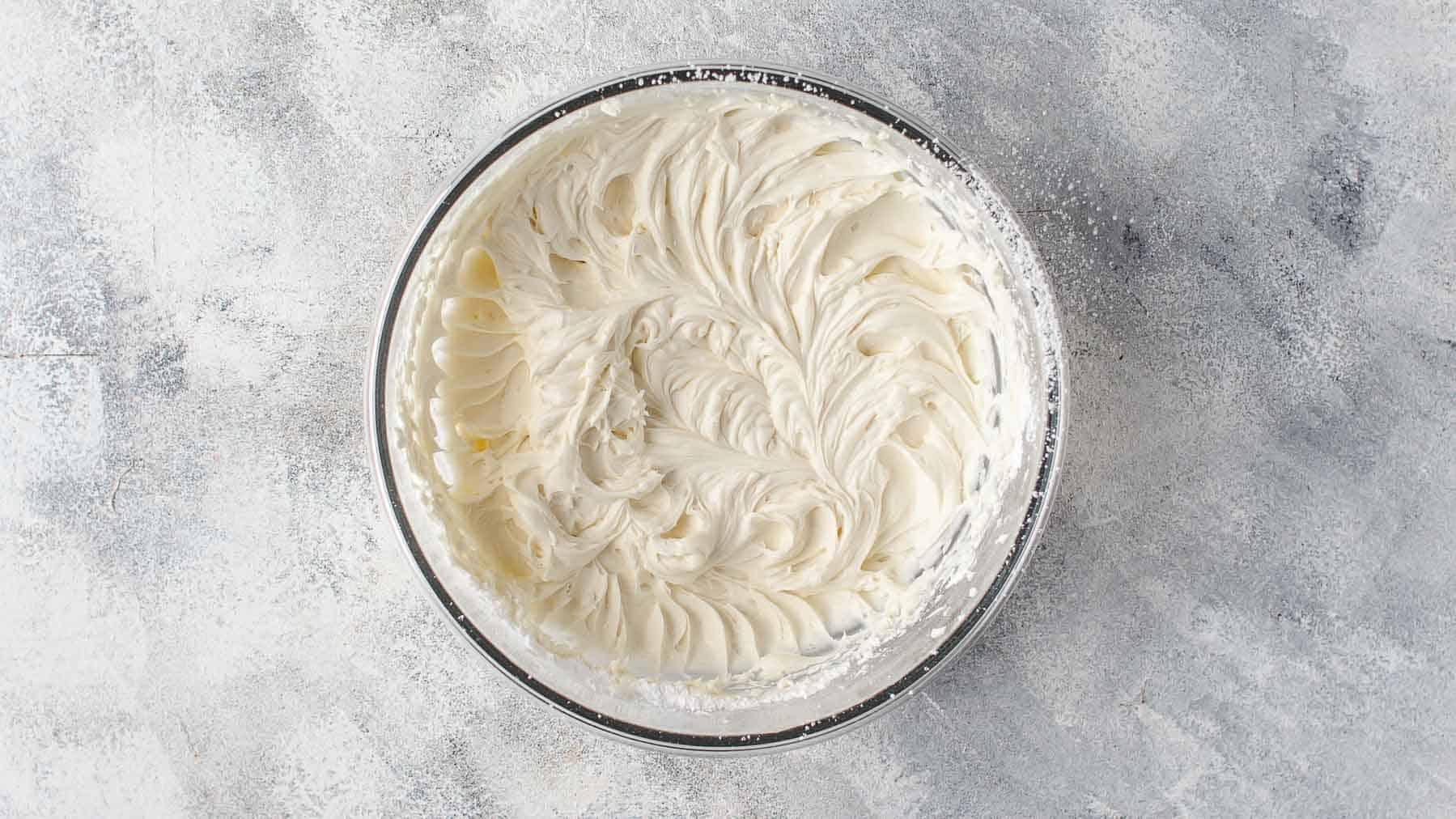 Mixed mascarpone and powdered sugar