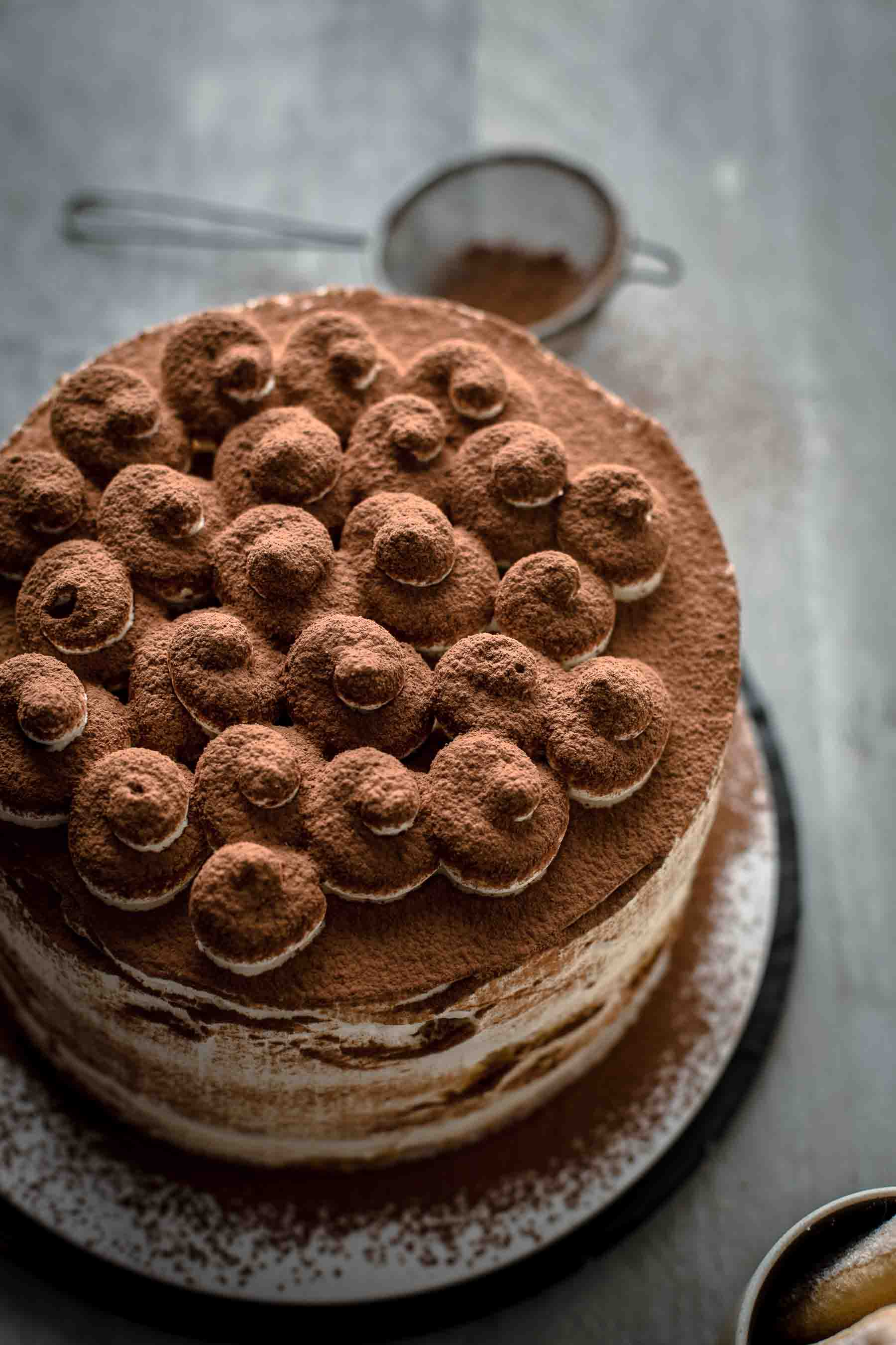 Cocoa powder dusted Tiramisu Cake