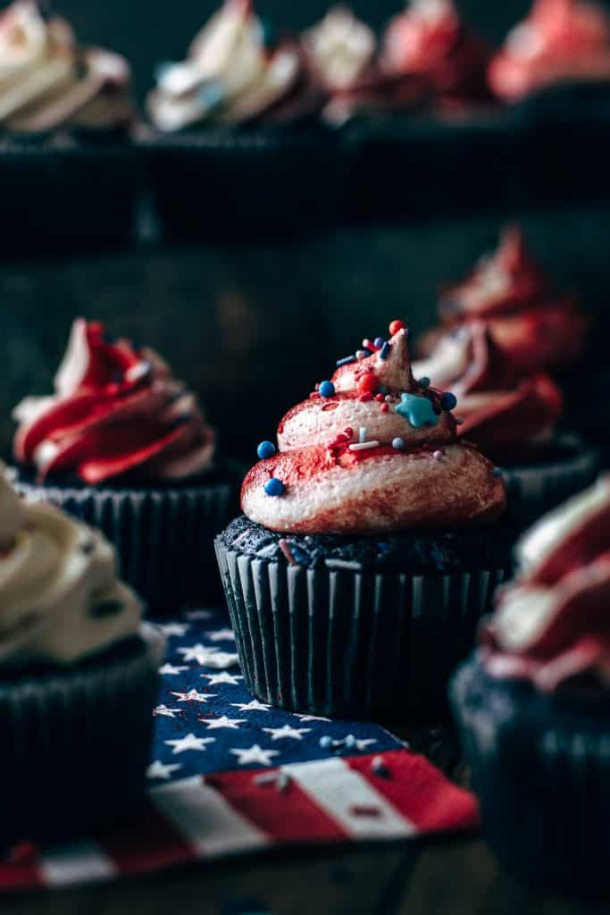 Close up of a festive red, white, and blue cupcake