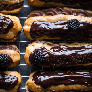 chocolate eclairs close up
