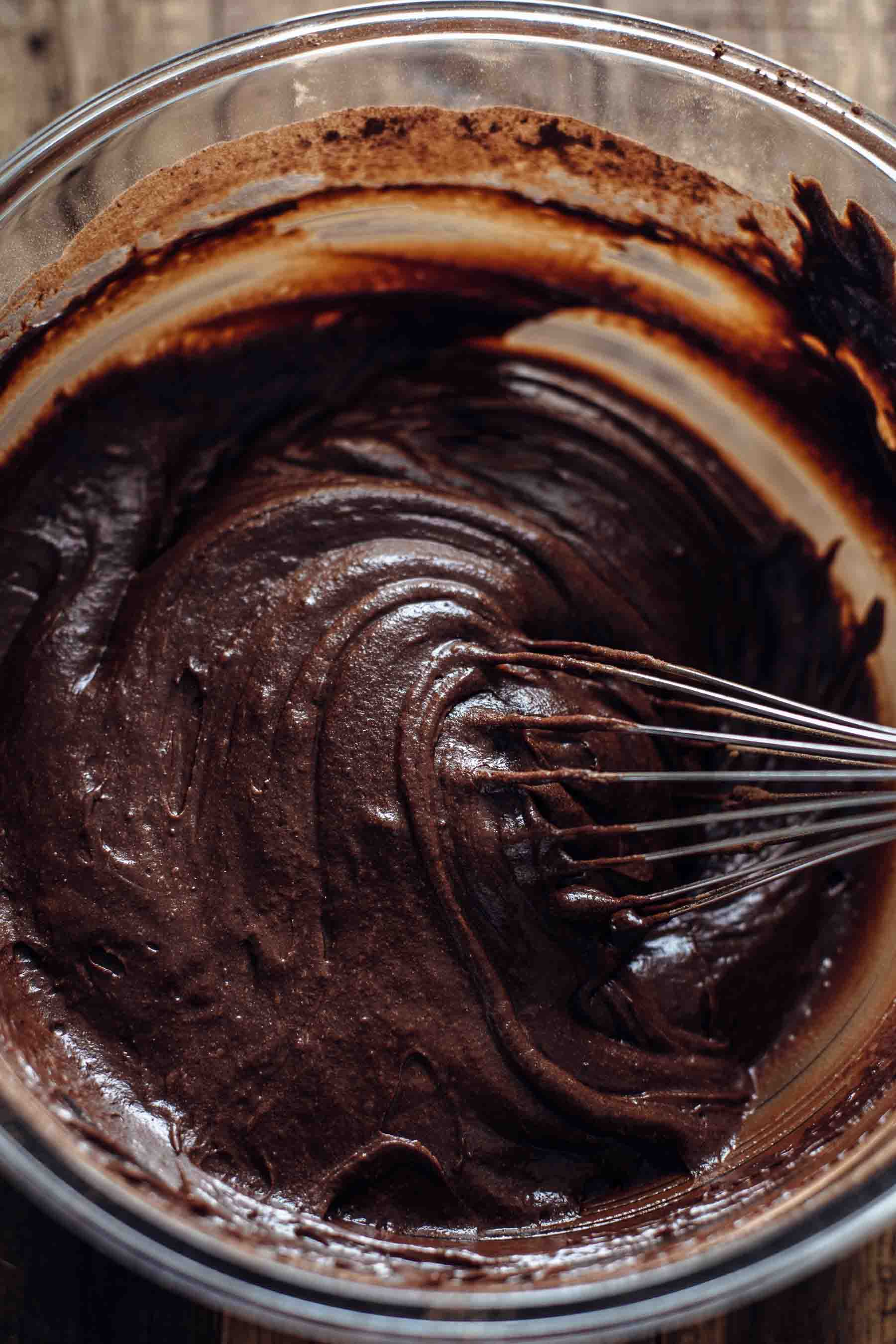 Unbaked Brownie Cupcakes Batter in bowl
