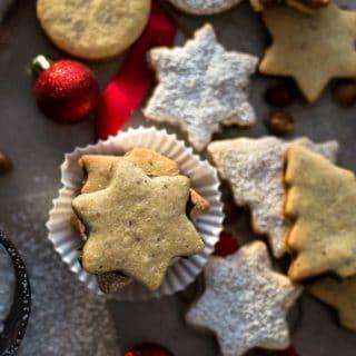 Baked Chocolate Hazelnut Cookies with powdered sugar