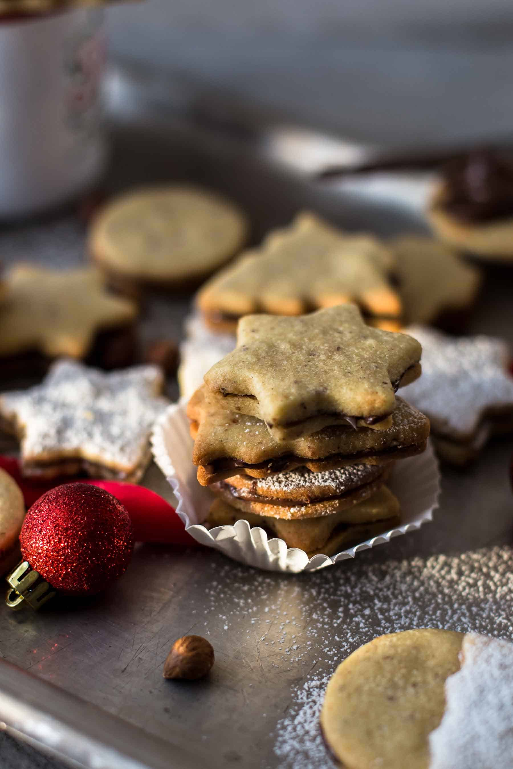 Baked Chocolate Hazelnut Cookies with powdered sugar