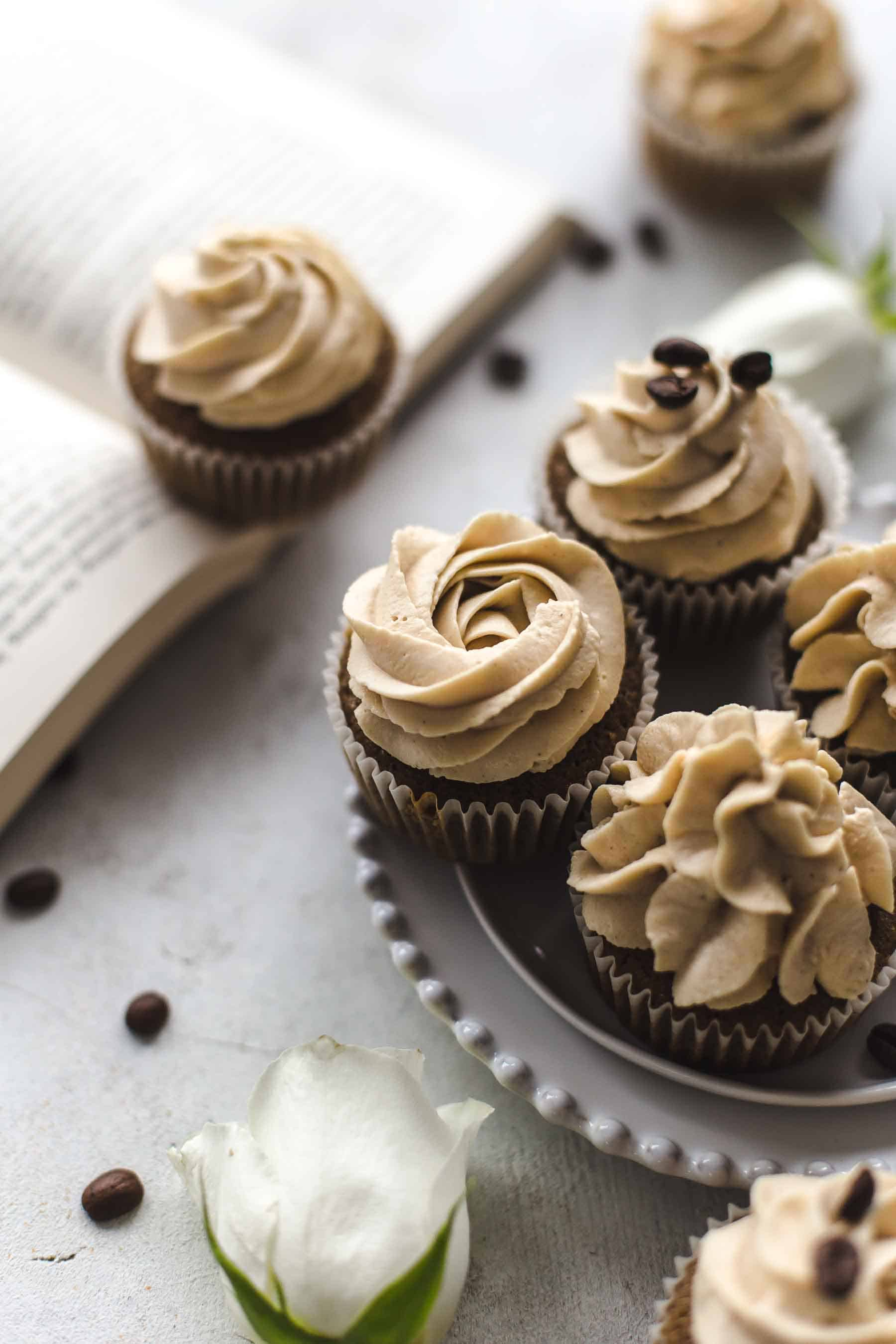 Coffee Cupcakes on a plate from the side