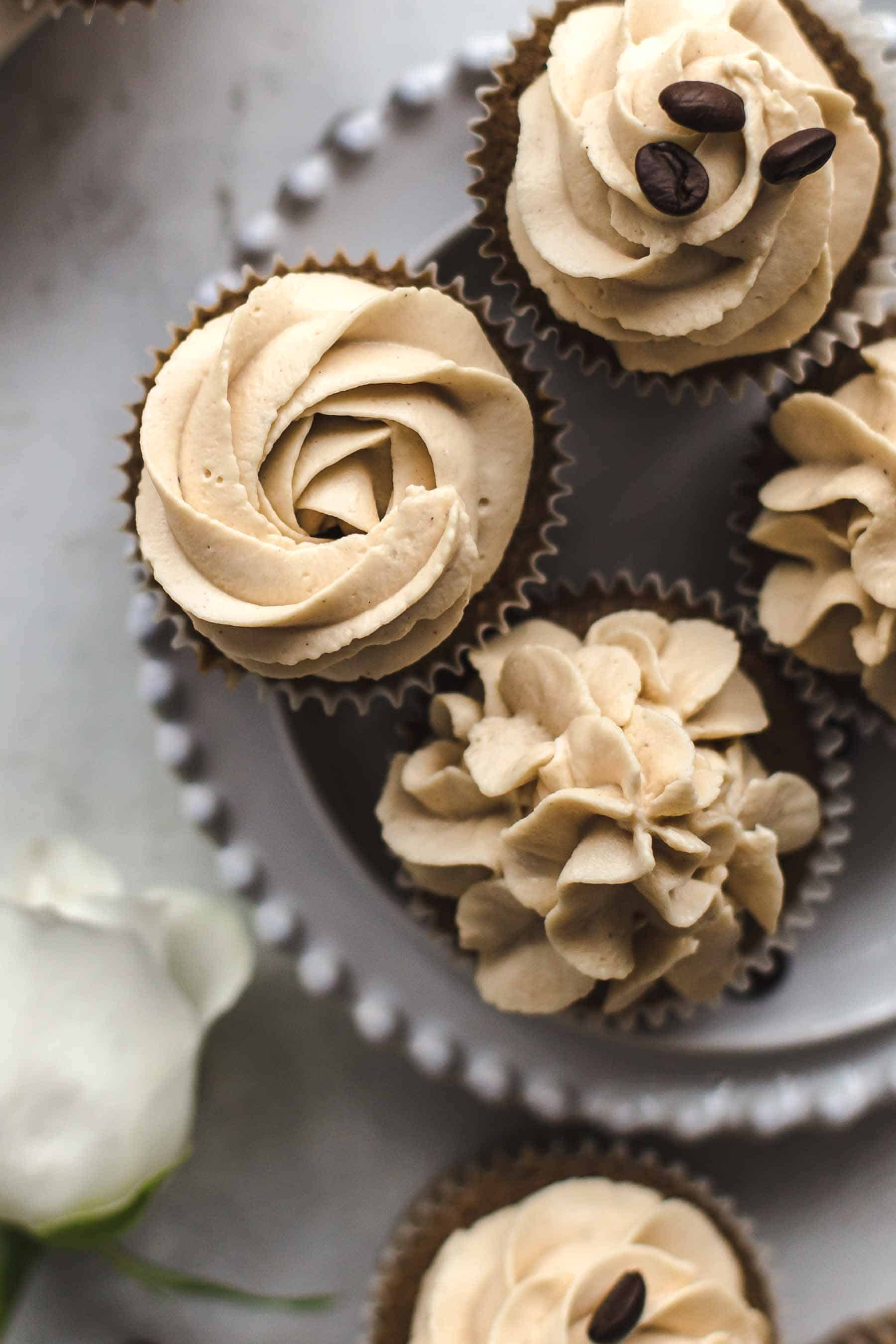 Coffee Cupcakes on a plate from the top