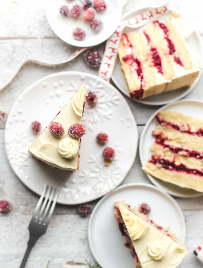 Slice of Cranberry Orange Cake with White Chocolate Frosting on a plate