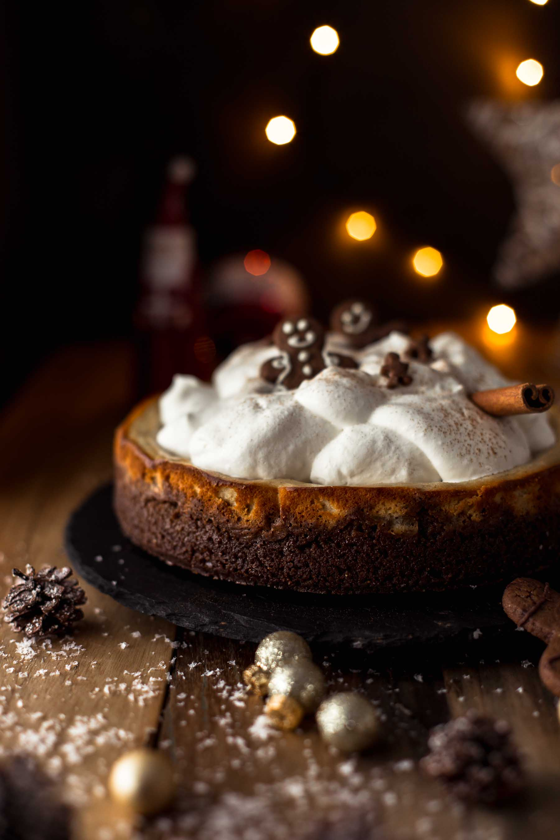 Baked Eggnog Cheesecake with Gingerbread Crust