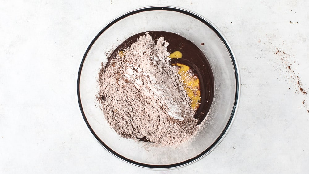 All Ingredients for mini chocolate cakes in one bowl
