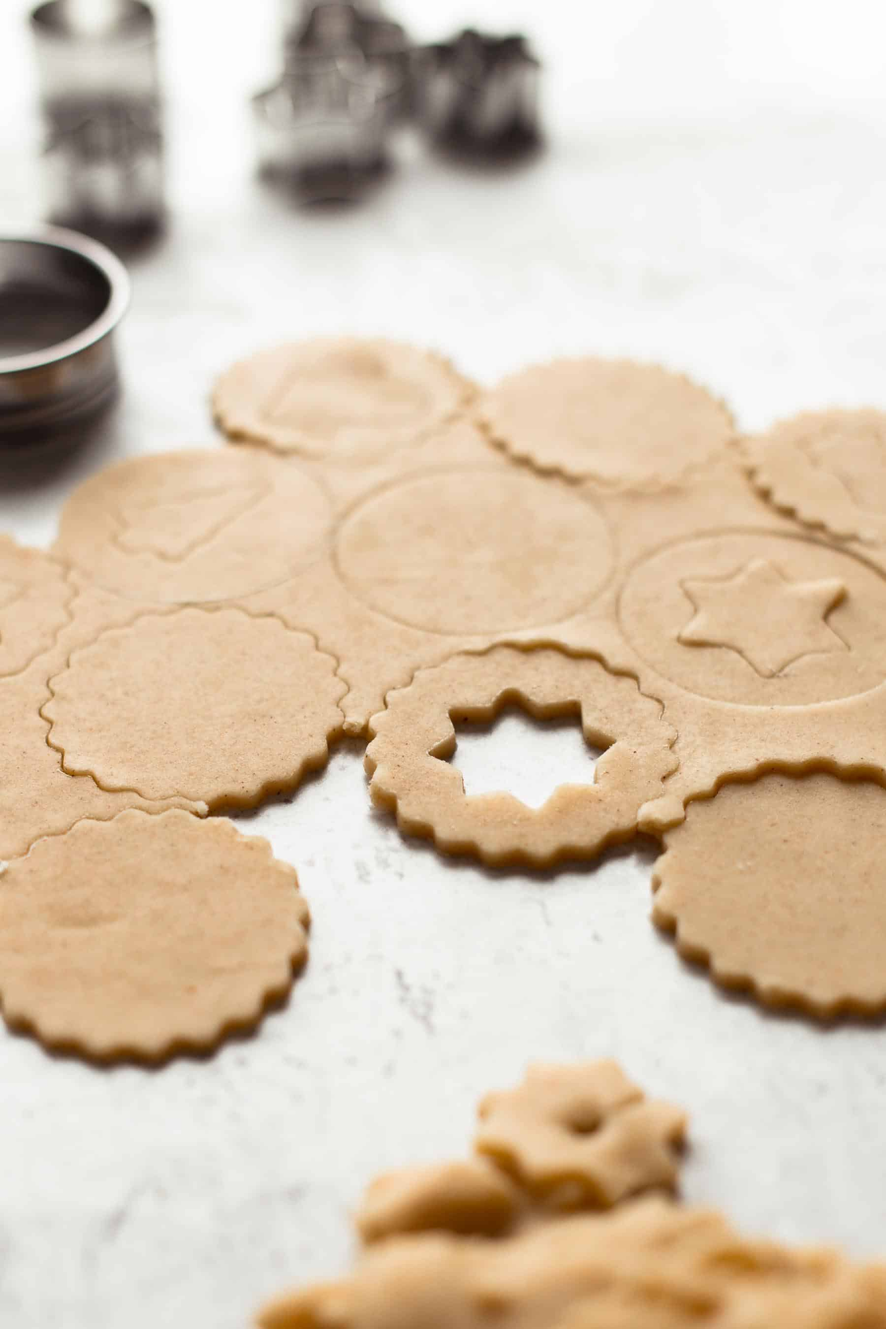 Unbaked cut Linzer Cookies