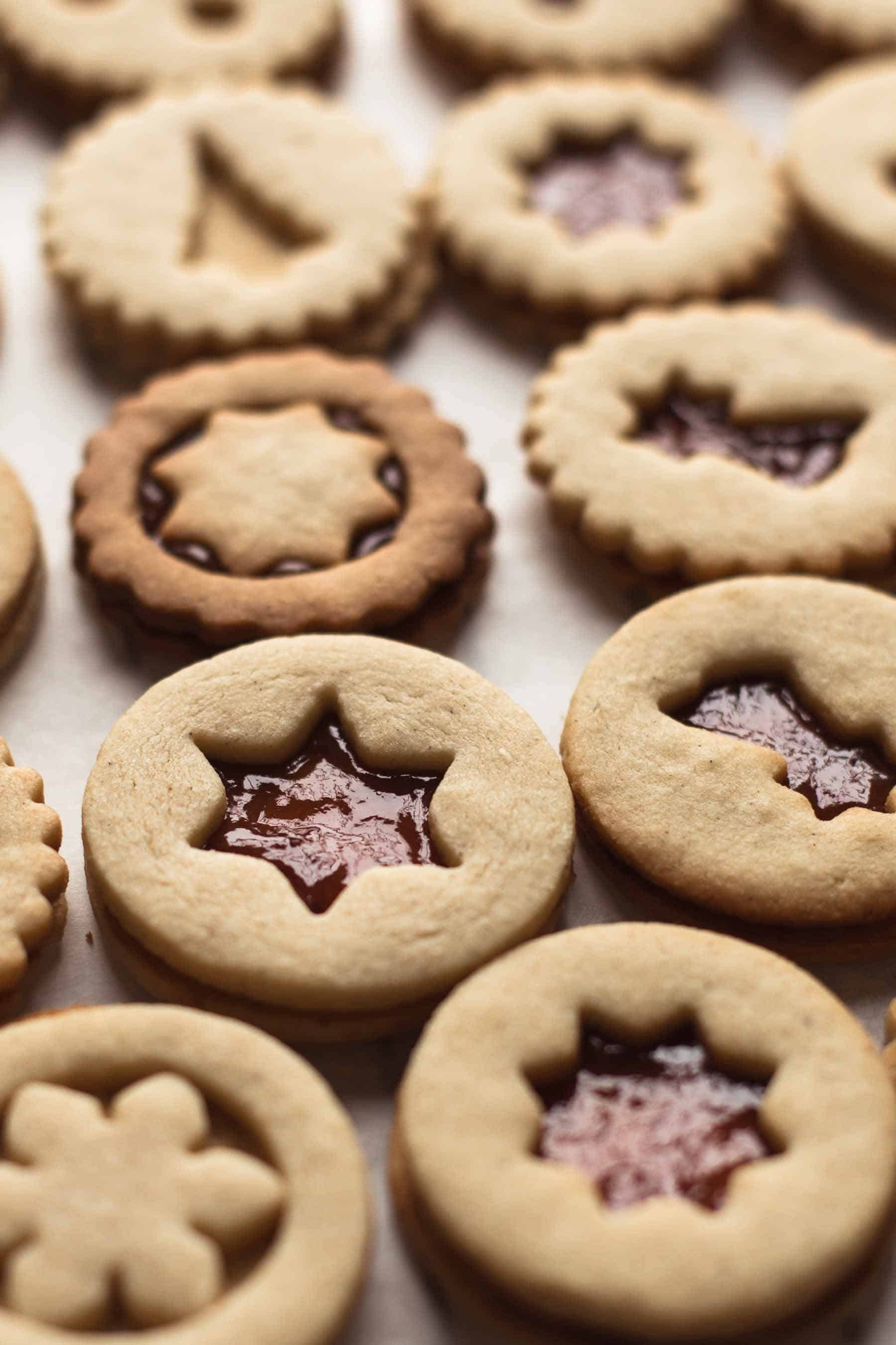Baked Linzer Cookies on a cooling rack