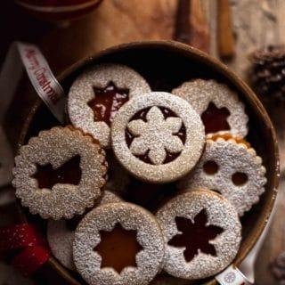 Linzer Cookies in a basket