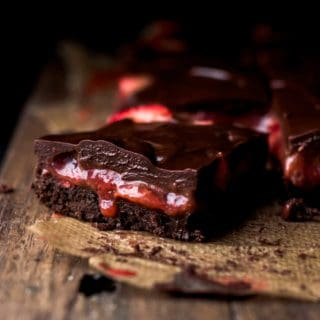 Cut Strawberry Brownies with oozing strawberry filling