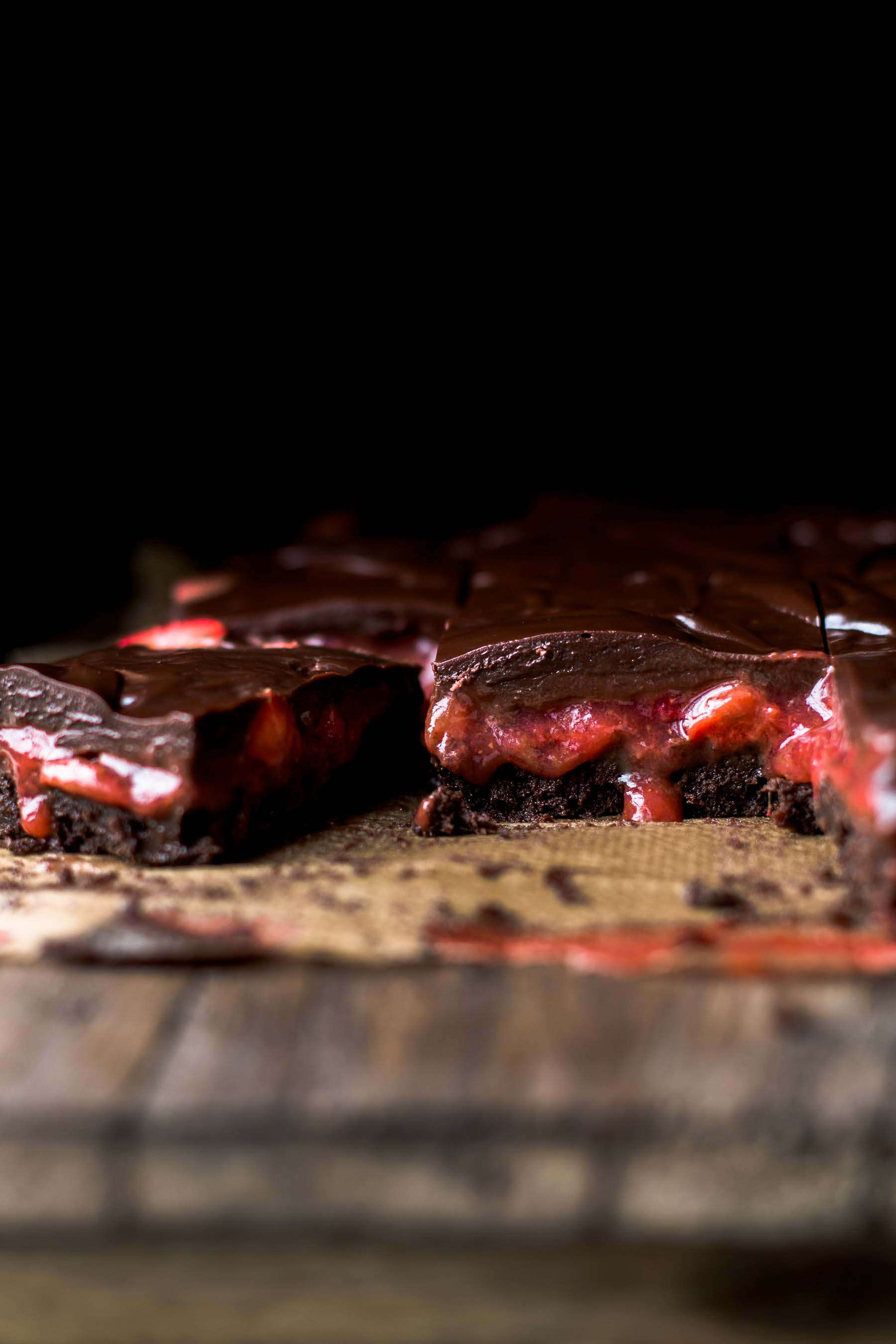 Cut Strawberry Brownies