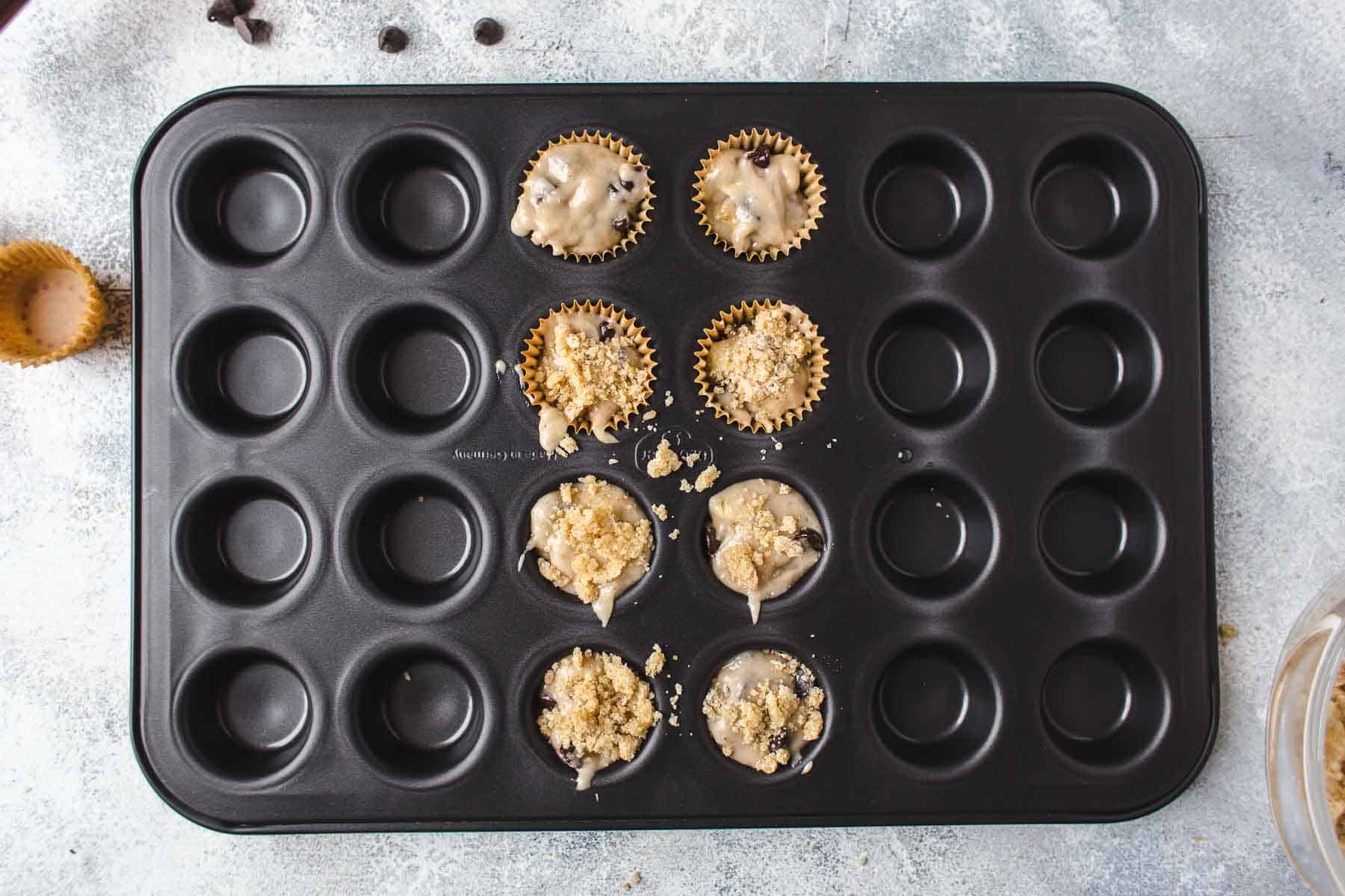 Mini Banana Chocolate Chip Muffins Batter in a mini muffin pan