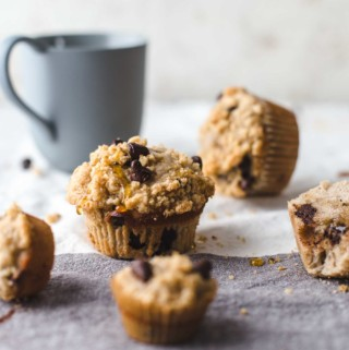 Banana Chocolate Chip Muffins and Mini Banana Chocolate Chip Muffins for breakfast with milk cup