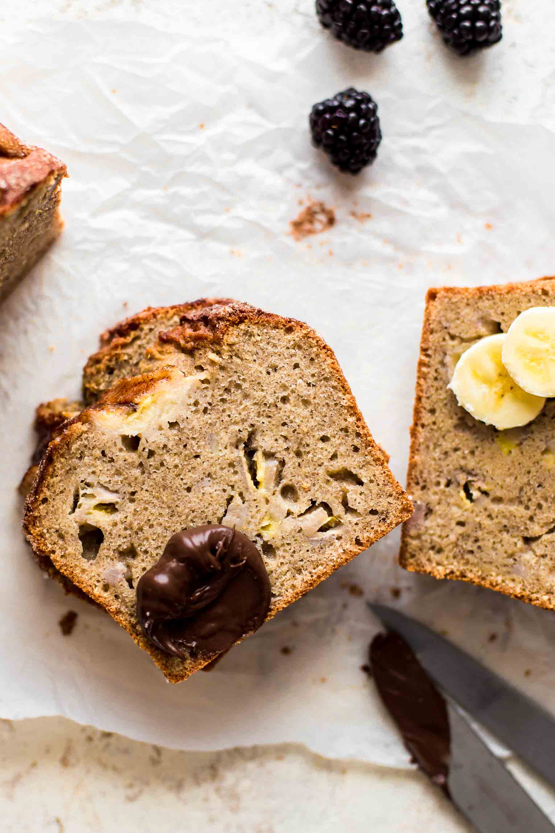 cut banana bread with fruits