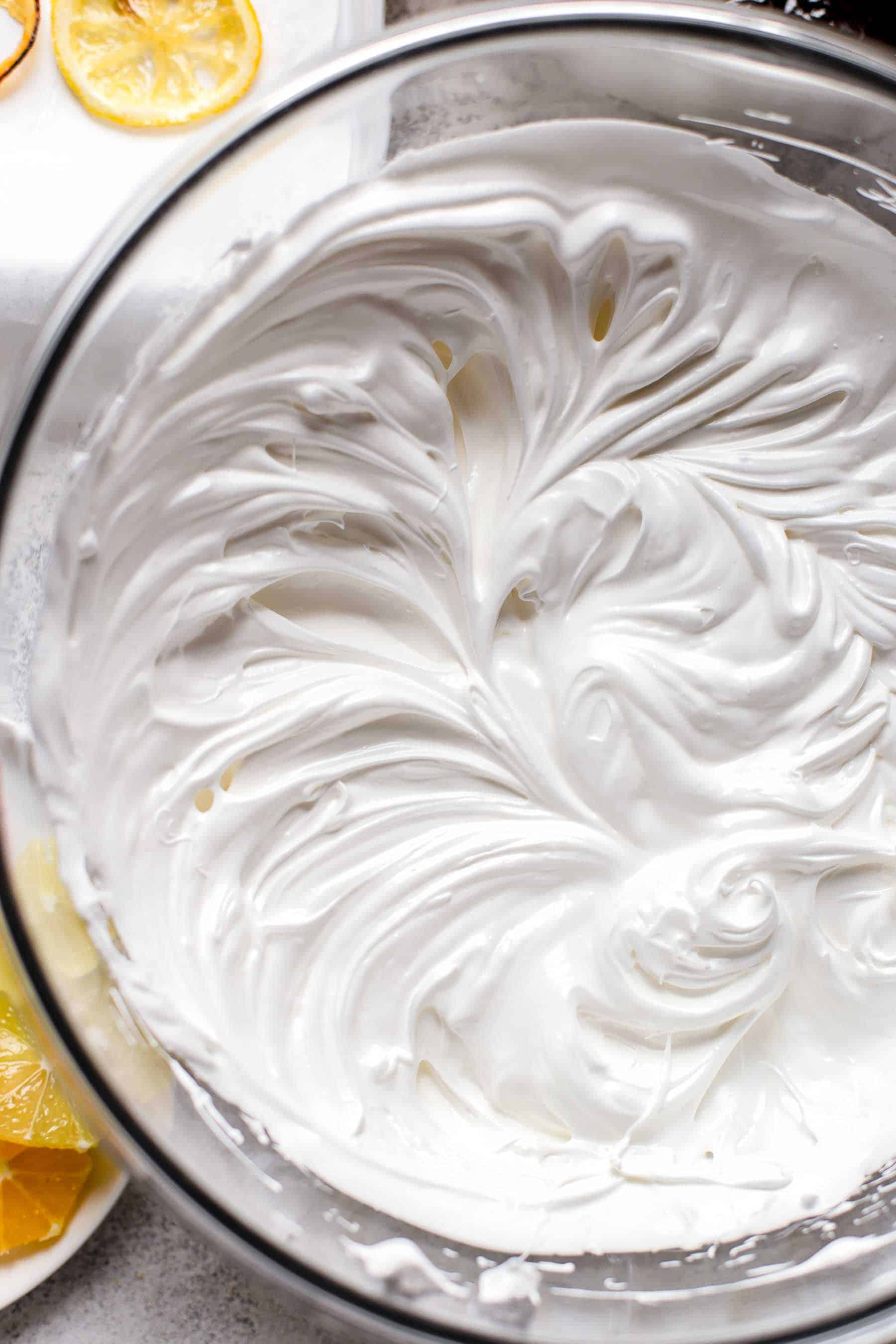 Meringue for decorating lemon cheesecake