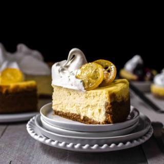 Lemon cheesecake slice on dessert plate