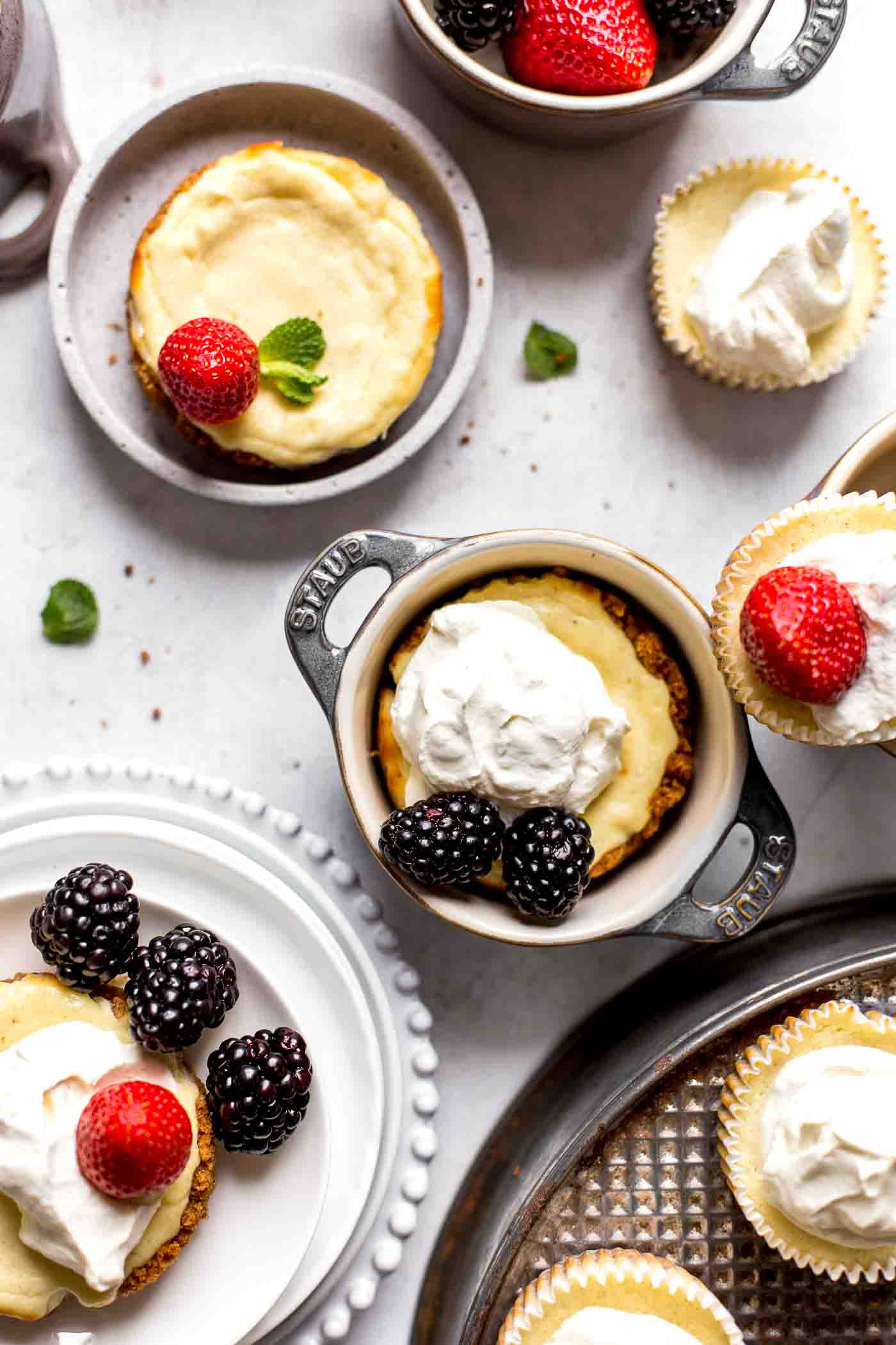 decorated mini cheesecakes