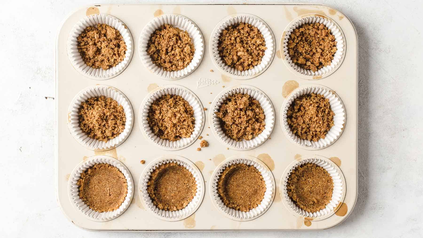 graham cracker crust in muffin pan