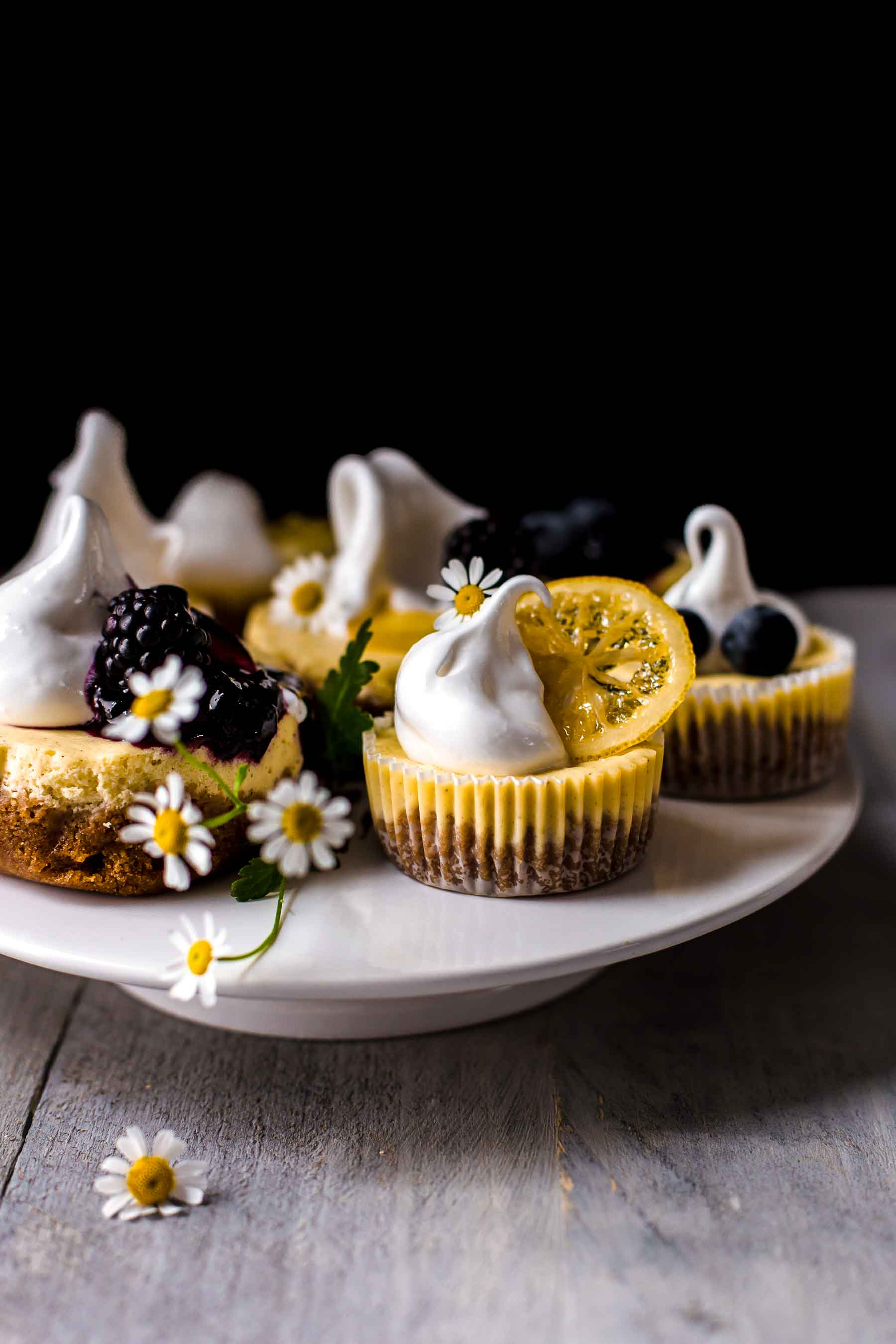 Mini Lemon Cheesecake on serving plate