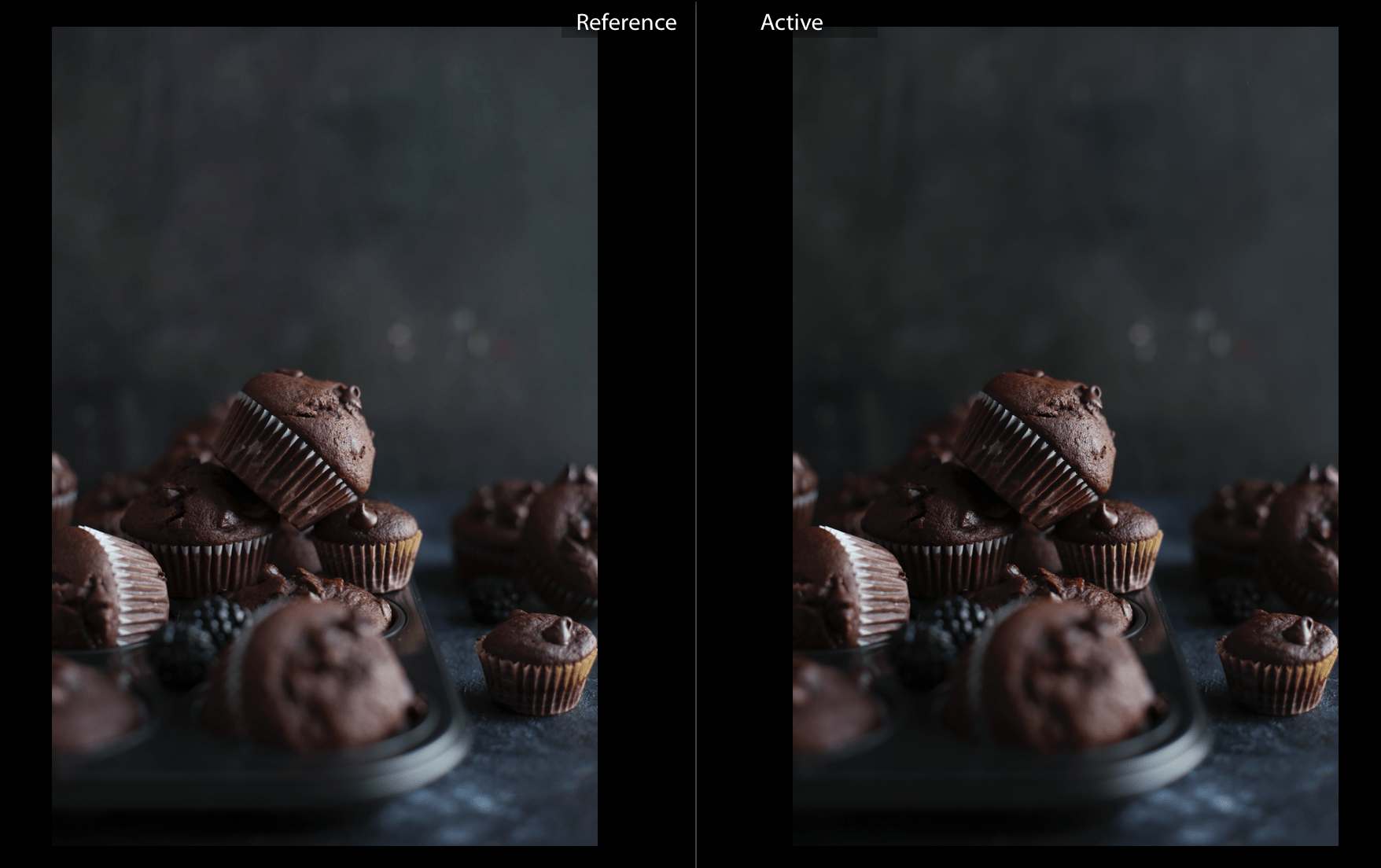 Comparison of unedited RAW and JPEG photo in Lightroom