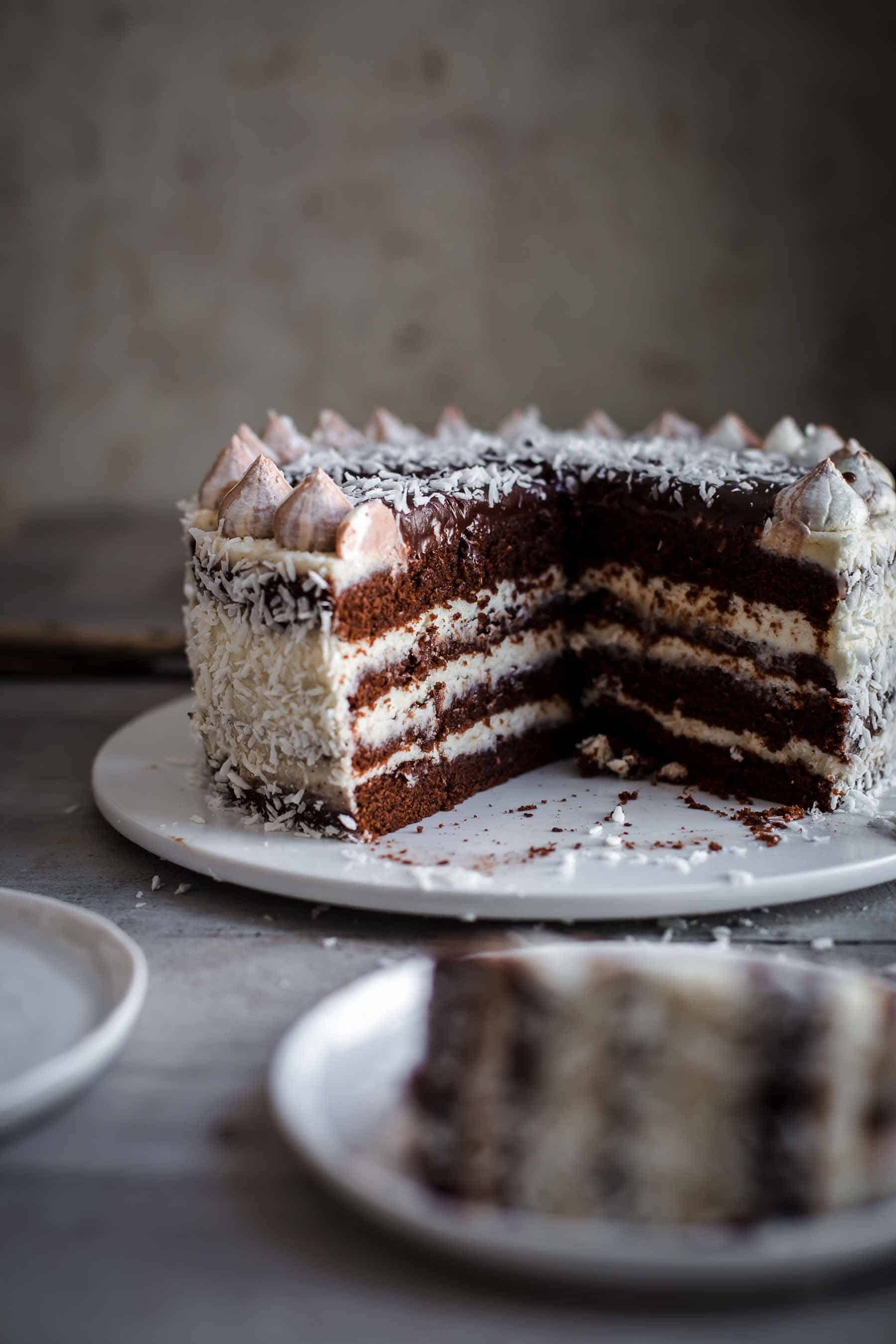 Cut Coconut Chocolate Cake on serving plate