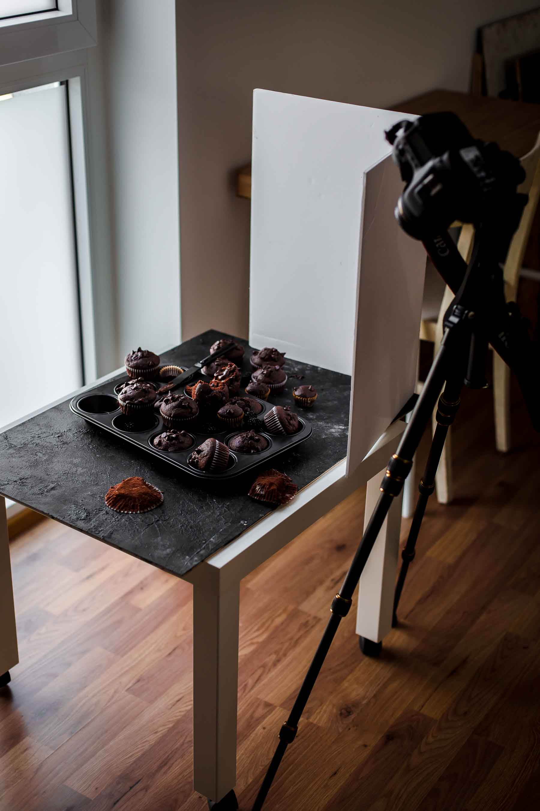 Food photography setup with bounce board