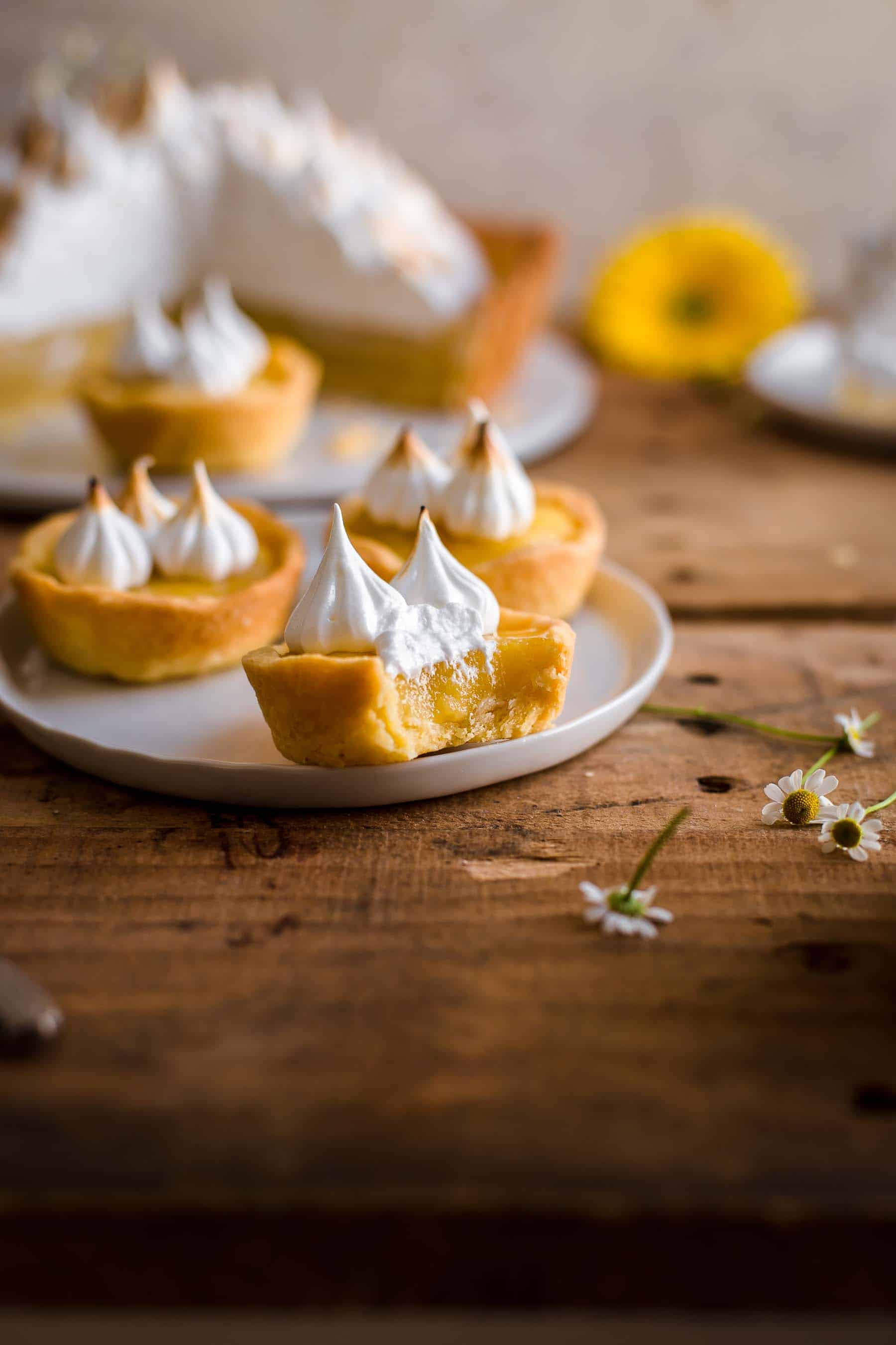 Lemon Meringue Tartlets on dessert plate