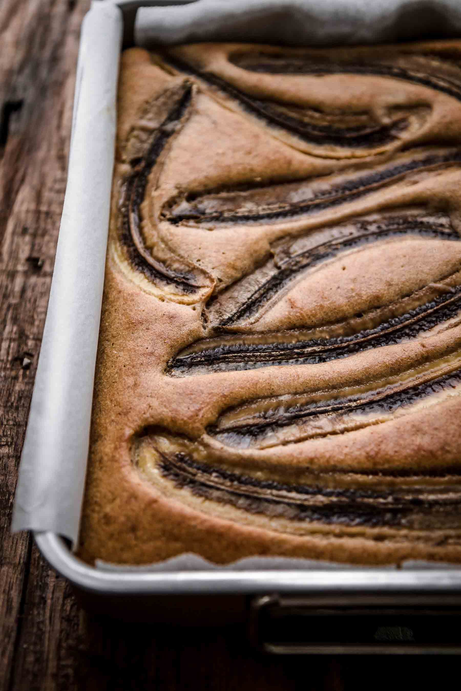 Baked banana cake in baking pan