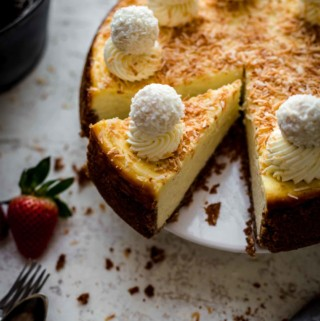 Sliced Coconut Cheesecake on serving plate