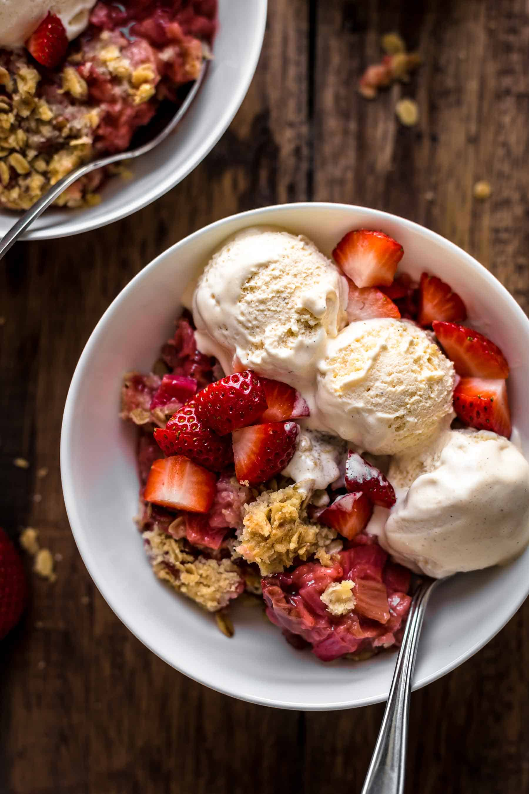 Strawberry Rhubarb Crisp in white bowl