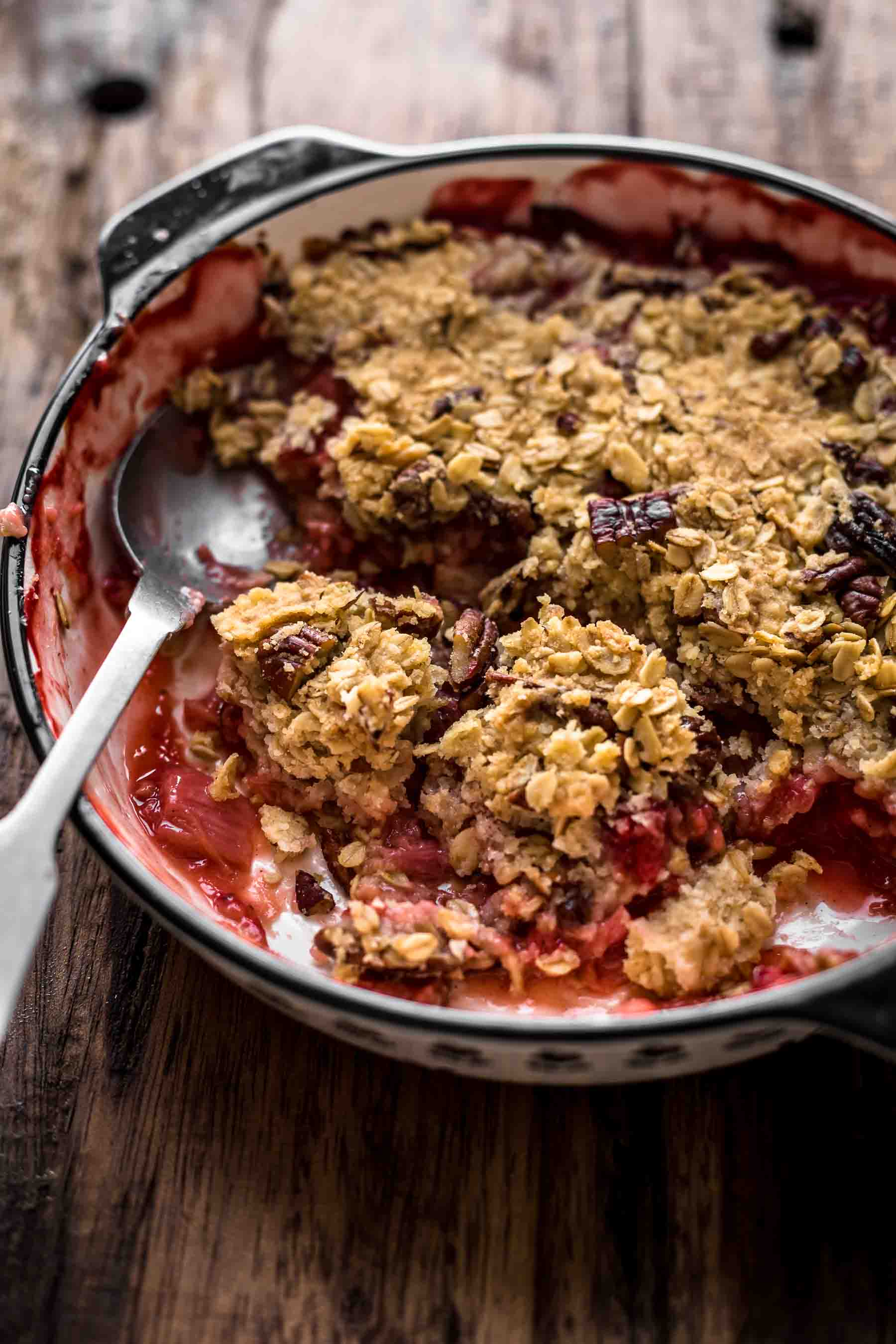 Baked Strawberry Rhubarb Crisp in baking dish