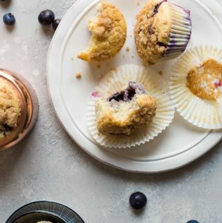 partially eaten muffins on a plate