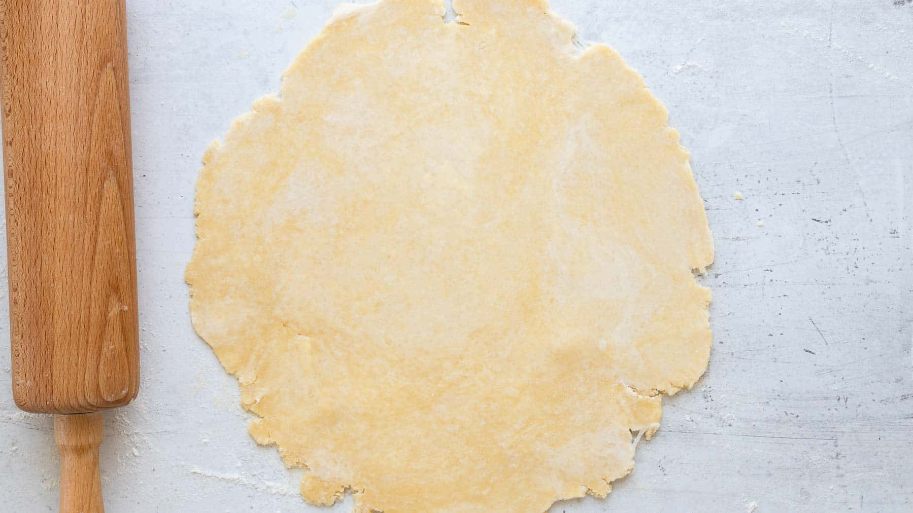 pie crust rolled out on counter