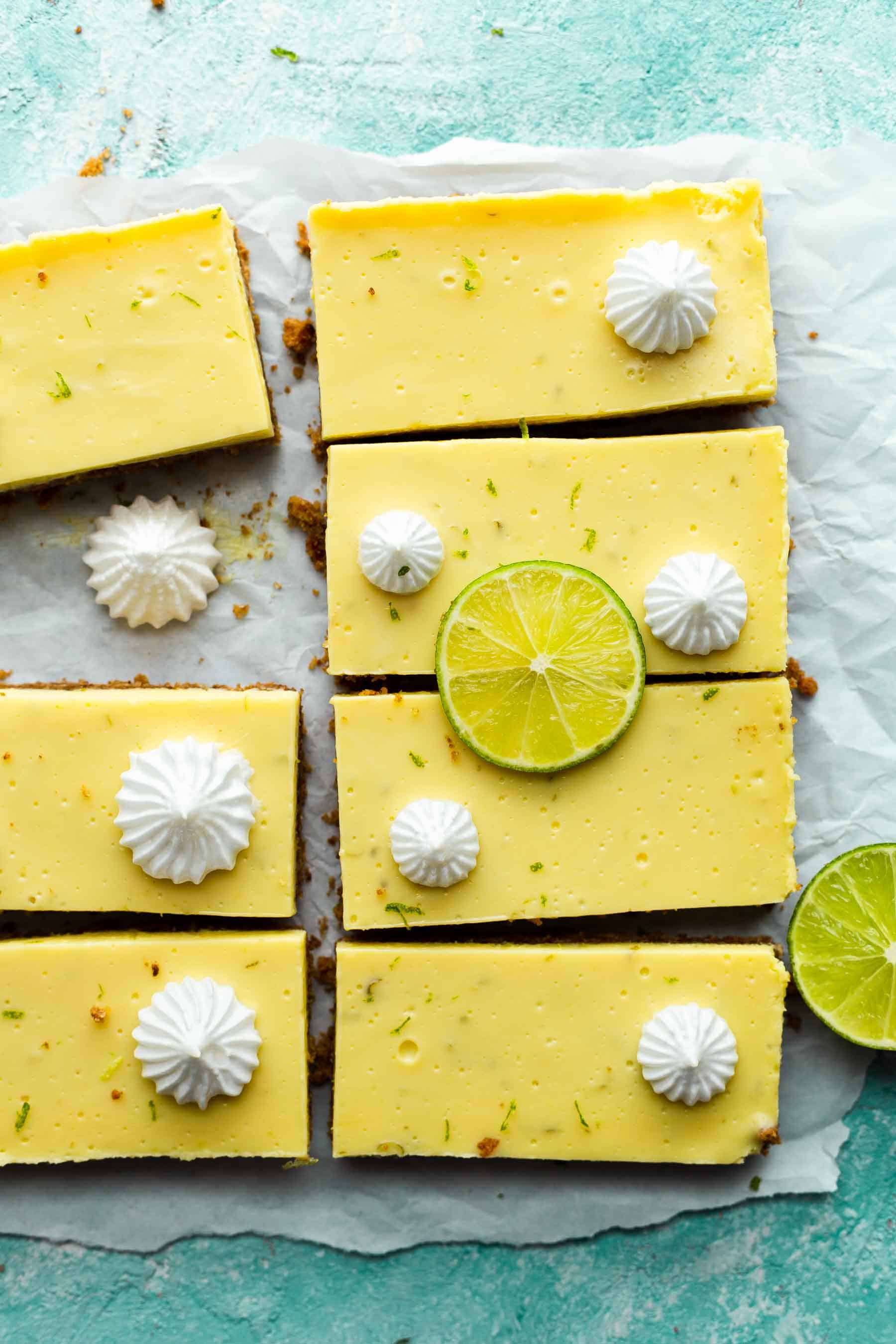 sliced key lime bars on parchment paper