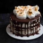smores cake on platter