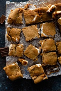 easy smores cookie bars on metal table