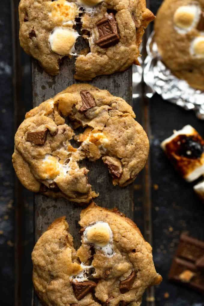 tore apart s'mores cookie with gooey marshmallow in the center