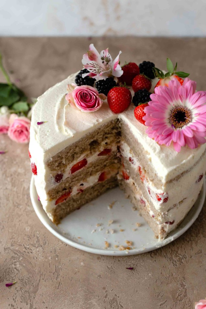 strawberry cake with slice cut out