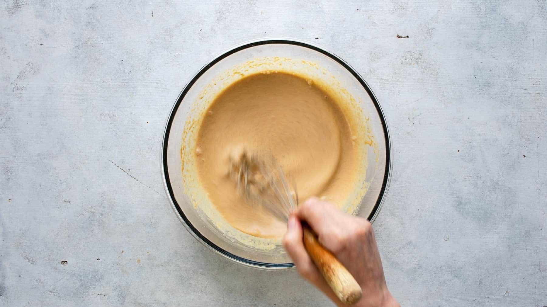 wet ingredients for pancake batter