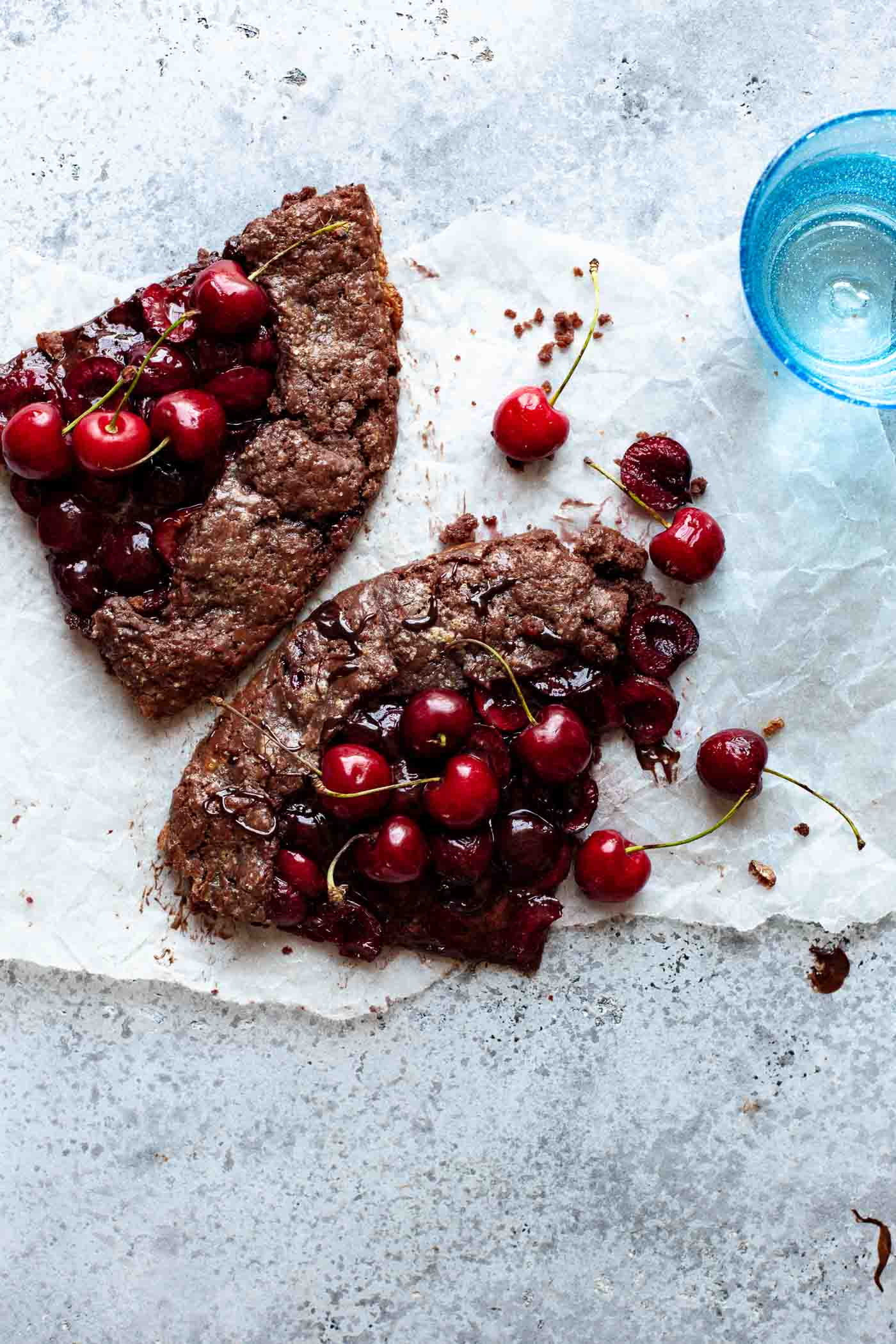 cherry chocolate galette on counter