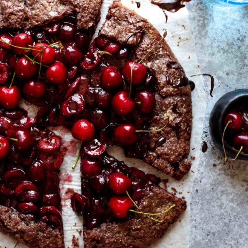galette on a table with slices cut out