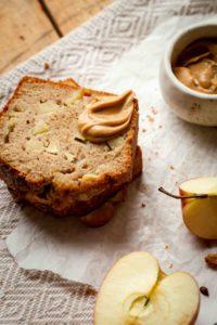 sliced apple bread on table